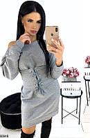 Платье женское стильное теплое на флисе размер 42-46 универсальный