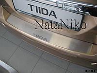 Nissan Tiida 2011-2014 гг. Накладка на задний бампер Натанико (нерж.)