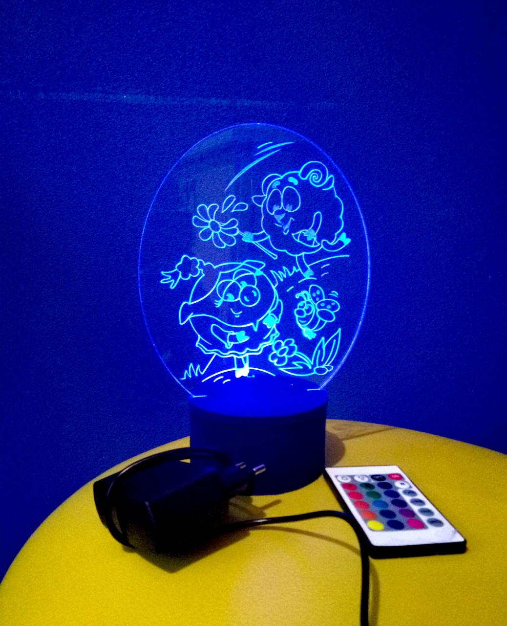 3d-светильник Бараш и Нюша (смешарики), 3д-ночник, несколько подсветок (на пульте)