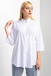 Белая штапельная рубашка RAMINA разлетайка с укороченными рукавами и асимметричным низом