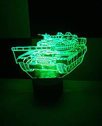 3d-світильник Танк, 3д-нічник, кілька підсвічувань (на батарейці)