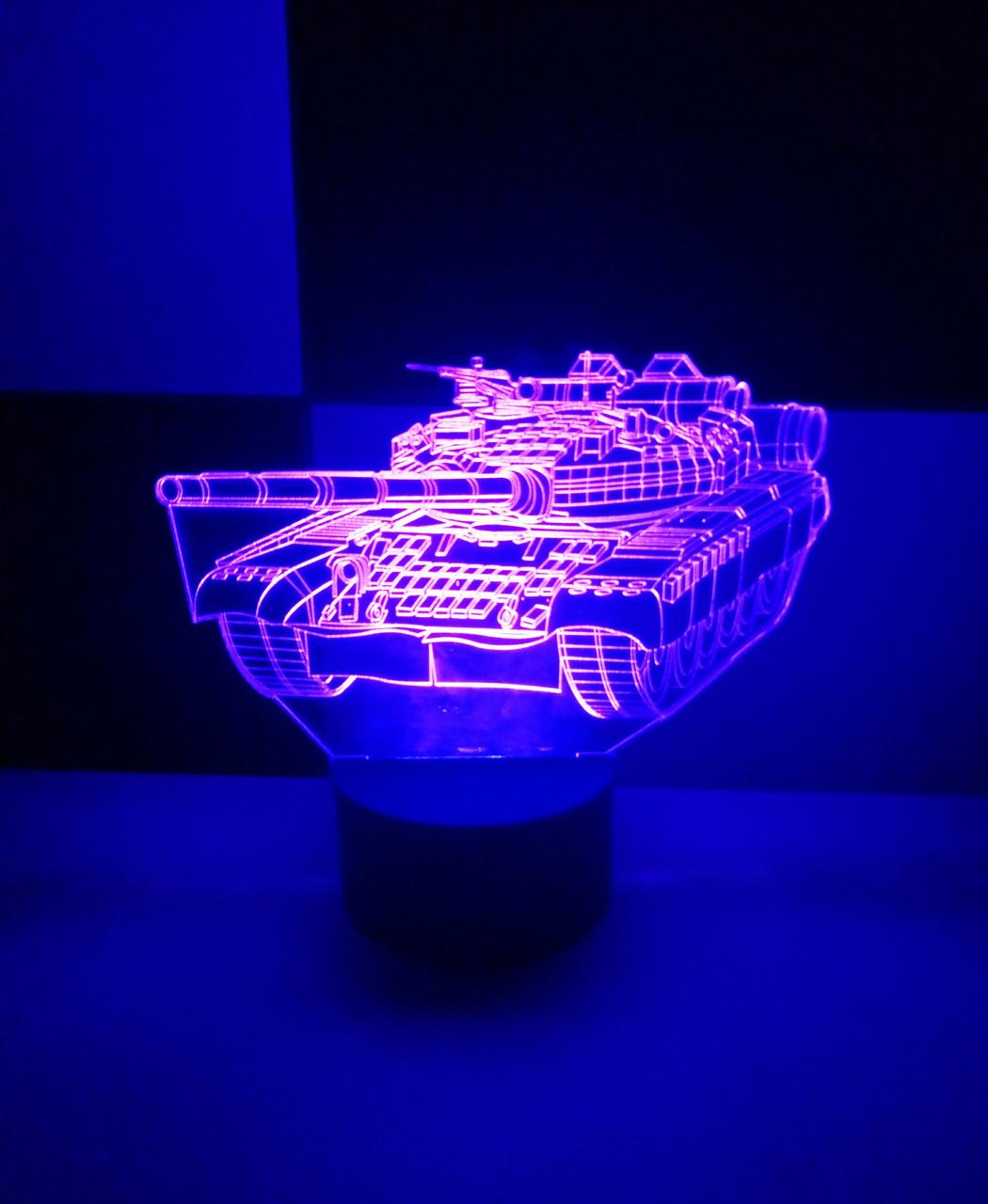 3d-світильник Танк, 3д-нічник, кілька підсвічувань (батарейка+220В)