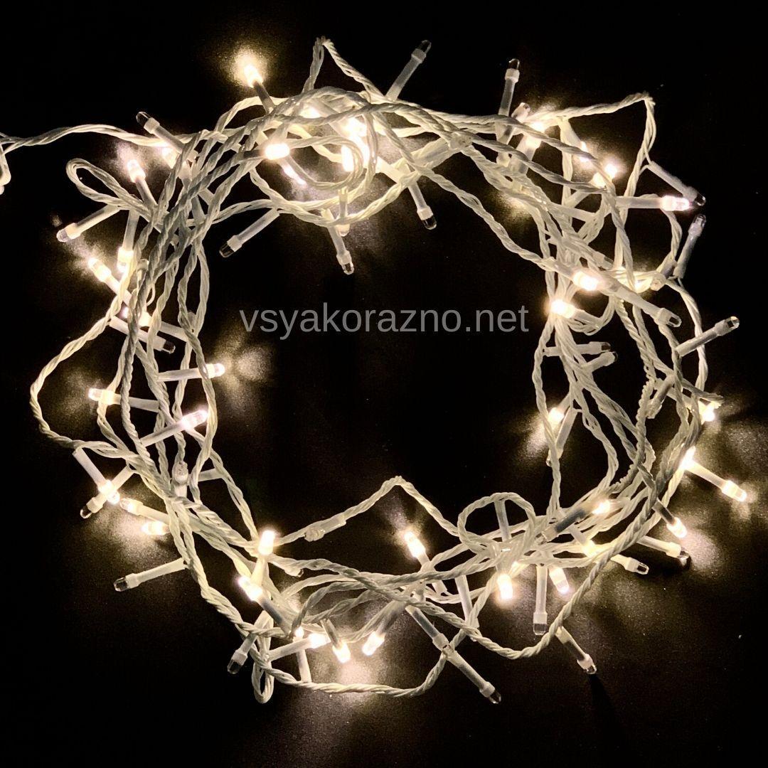 Гирлянда светодиодная на елку 100 LED 7 метров (теплый белый)