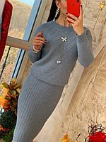 Костюм вязаный женский юбка и кофта, с люрексом, 6 цветов