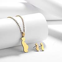 """Комплект бижутерии """"Rinhoo"""" Беременность,  цвет золото, серьги, подвеска и цепочка"""
