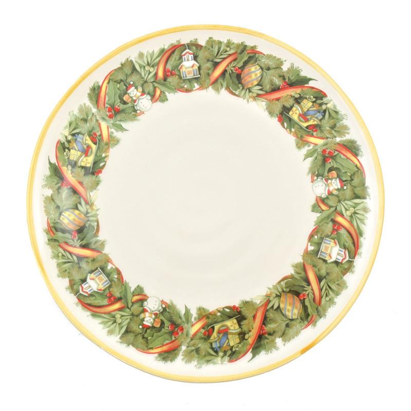 Тарелка обеденная Италия Villa Grazia Premium Красочное Рождество 29 см (GHDP29IS-1)