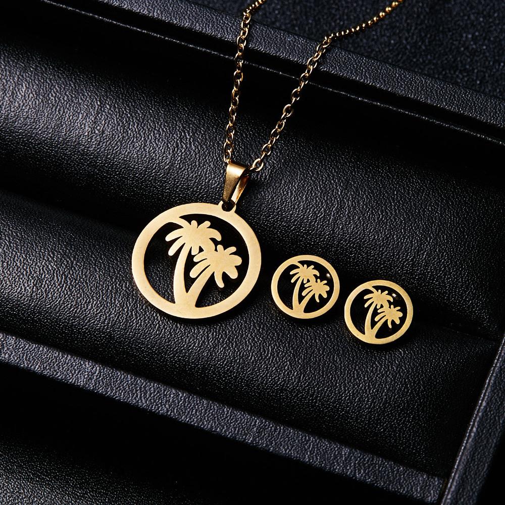 """Комплект бижутерии """"Rinhoo"""" Пальмы,  цвет золото, серьги, подвеска и цепочка"""
