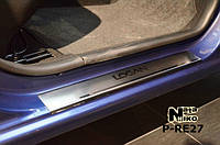 Dacia Logan MCV 2013+ гг. Накладки на пороги Натанико премиум (4 шт, нерж.)