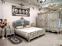 Спальня Афина со шкафом (кровать, 2 тумбочки, трюмо, пуф)