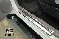 Mitsubishi Pajero Sport 2008-2015 гг. Накладки на пороги Натанико премиум (4 шт., нерж.)