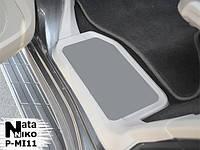 Mitsubishi Pajero Wagon IV Накладки на пороги Натанико премиум (2 шт., нерж.)
