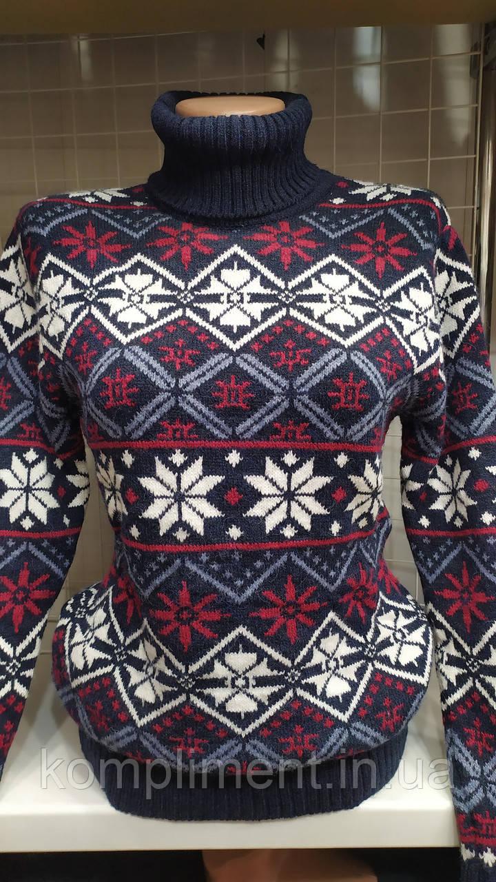 Женский шерстяной свитер с горлом со снежинками, синий, Турция.