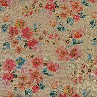 Мех искусственный стриженый бежевый в цветы, ш.145 (21402.002)