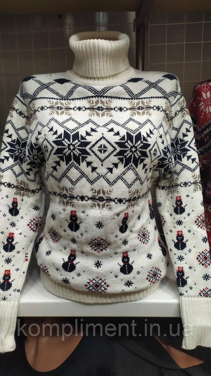 Женский шерстяной вязаный свитер с веселыми снеговиками,белый. Турция.
