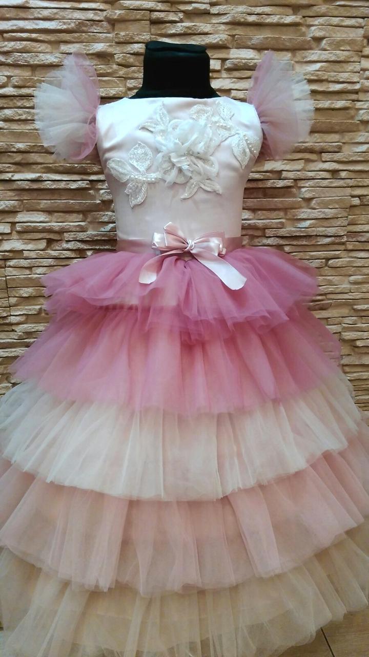Сукня дитяча святкова с багатошаровою спідницею на 6-8 років пудрова з рожевим та персиковим