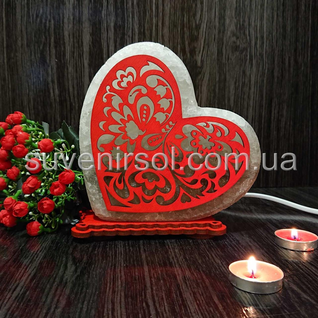 Соляной светильник Сердце цветное 2
