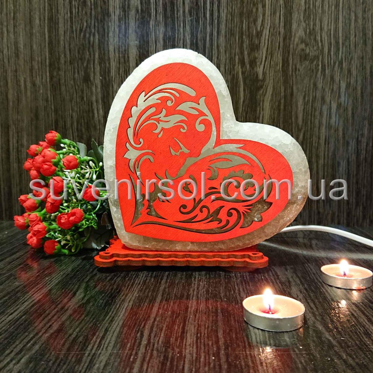 Соляной светильник Сердце цветное 3