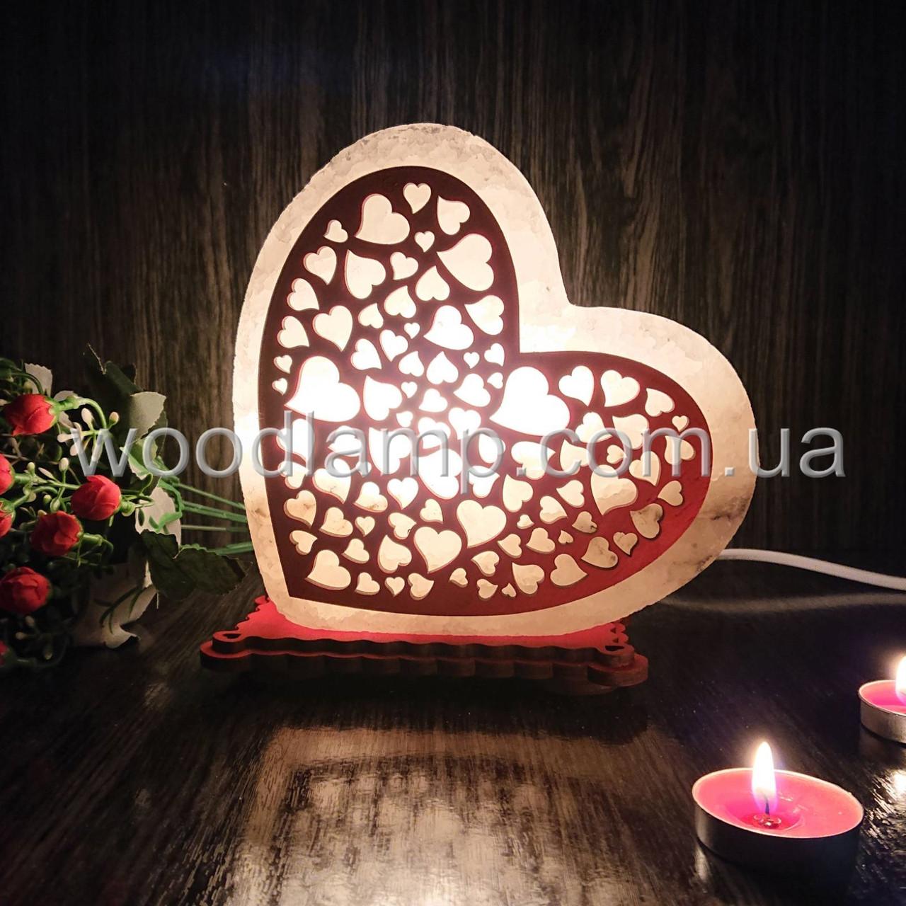 Соляная лампа Сердце цветное 1