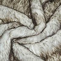 Хутро штучне середньоворсове біле з коричневим ворсом ш.170 (21550.001)