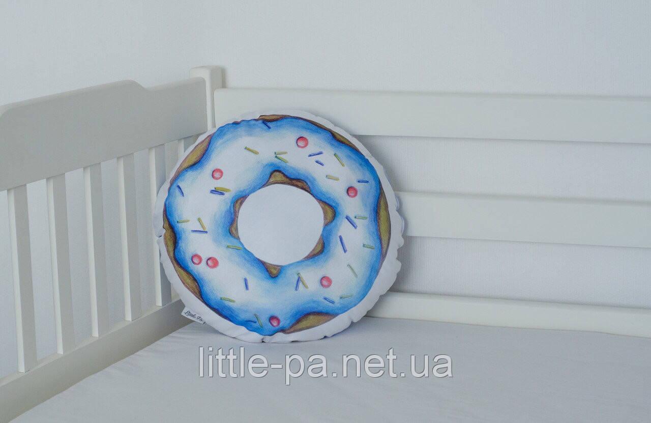 """Подушка декоративная хлопковая для детской  """"Пончик голубой"""""""