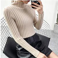 Женский бежевый плотный гольф ( свитер), Т 0173-2