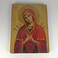 Икона деревянная 14,3*19см Б.М. Семистрельная