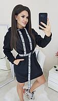 Платье женское теплое на флисе с поясом  крап0281, фото 1