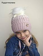 059 Детская шапка Акварель. Зимняя, флис. р.48-52. 2-5 лет. Св.мята, клубника, малина, пудра+молоко, клубника, фото 1
