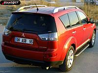 Mitsubishi Outlander 2008-2013 гг. Боковые площадки BlackLine (2 шт, алюминий)