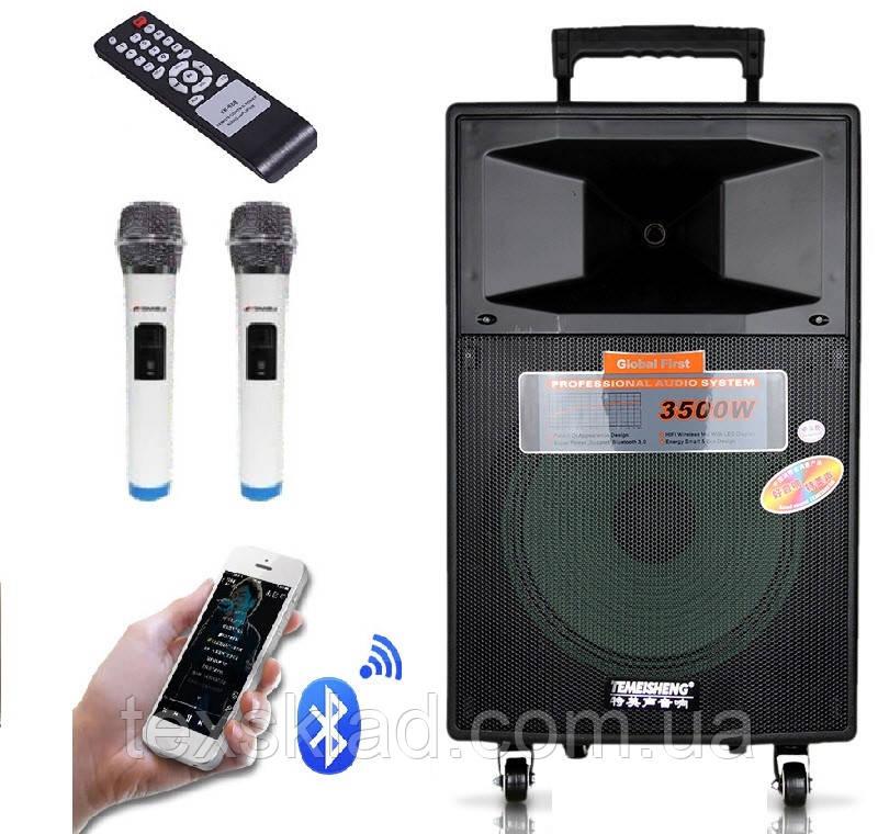 Аккумуляторна колонка з мікрофонами SL12-04 200W (/USB/Bluetooth/AUX)