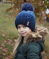 071 Шапка Омбре с песцовым помпоном, флис. р.54-57. Есть т.синие, пыльная роза, темная мята, т.бордо, фото 1