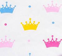 Простынь на резинке в детскую коляску BabySoon хлопок Короны 80 х 40 см (262)