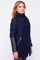"""Пальто с кожаными рукавами """"Франческа"""" синее"""