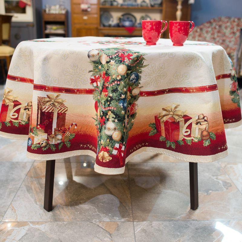 Скатертина гобеленова Новорічна з люрексом Іспанія Ялинкові іграшки d190 см (MantelGlamLurex-190)