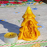 """Рождественская восковая свеча """"Вертеп"""" из натурального пчелиного воска, фото 4"""