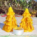 """Рождественская восковая свеча """"Вертеп"""" из натурального пчелиного воска, фото 6"""