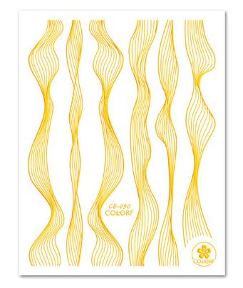 """3D наклейка для ногтей (маникюра) """"Вуаль"""" золото"""
