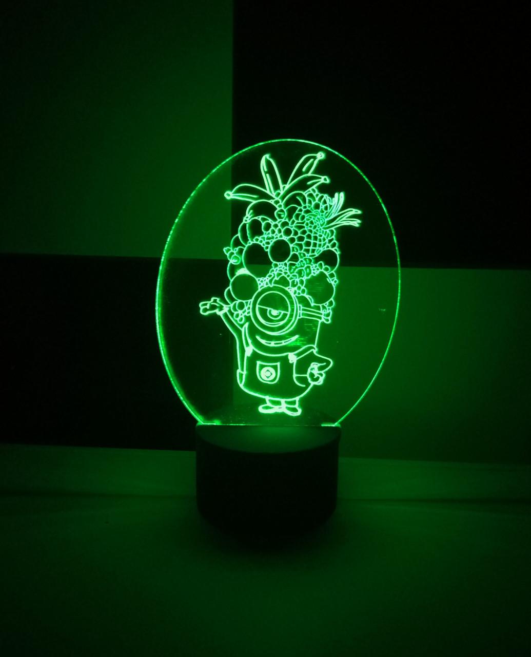 3d-світильник Міньйон з фруктами, 3д-нічник, кілька підсвічувань (на батарейці)