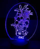 3d-светильник Миньон с фруктами, 3д-ночник, несколько подсветок (на пульте)
