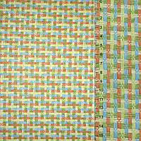 Рогожка з целюлози на флізеліні з кольоровим переплетенням: зелено оранжево-блакитна, ш.150 (21703.001)