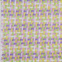 Рогожка з целюлози на флізеліні з кольоровим переплетенням: рожево-фіолетово-салатова, ш.150 (21703.005)