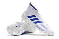 Футбольные бутсы adidas Predator 19+ FG White/Bold Blue/White, фото 1