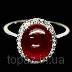 Кольцо серебряное 925 натуральный рубин, цирконий.