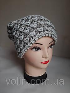 Тёплая женская польская шапка бини.