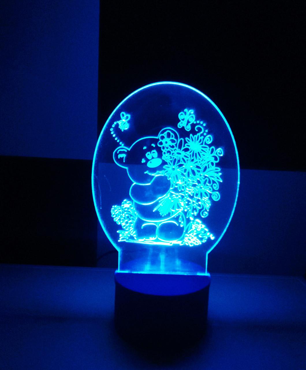 3d-светильник Мишка с цветами, 3д-ночник, несколько подсветок (батарейка+220В), подарок ребенку