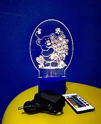 3d-светильник Мишка с цветами, 3д-ночник, несколько подсветок (на пульте), подарок ребенку