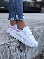 Зимние кроссовки Александр Маквин (Alexander McQueen) Pink White НА МЕХУ, фото 1
