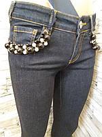 Женские синие джинсы AMN узкие с бусинами