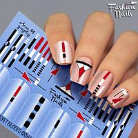 Наклейки для ногтей геометрия ( Слайдеры для ногтей геометрия полоски ) арт.Aero44