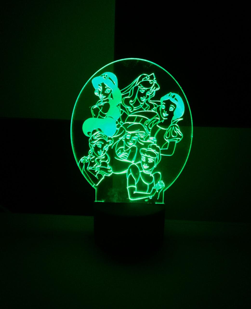 3d-світильник Принцеси Дісней, 3д-нічник, кілька підсвічувань (на батарейці)